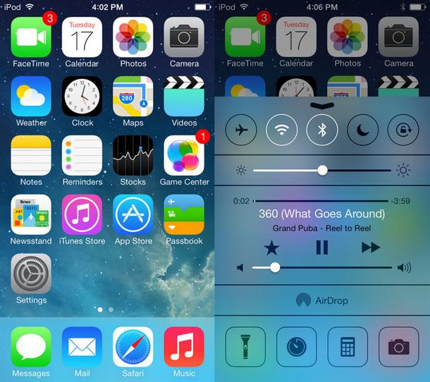 Вигляд меню iOS 7